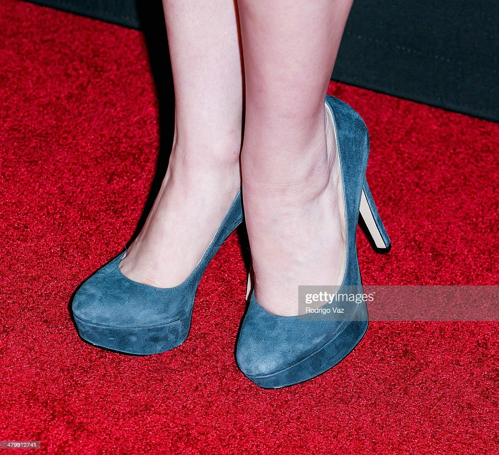 Actress Elizabeth Small (shoe detail) attends the 'Cesar Chavez' Los Angeles Premiere at TCL Chinese Theatre on March 20, 2014 in Hollywood, California.