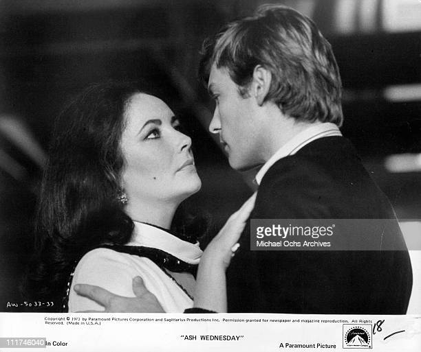 Actress Elizabeth Taylor and actor Keith Helmut Berger embracing in a scene from the film 'Ash Wednesday' 1973