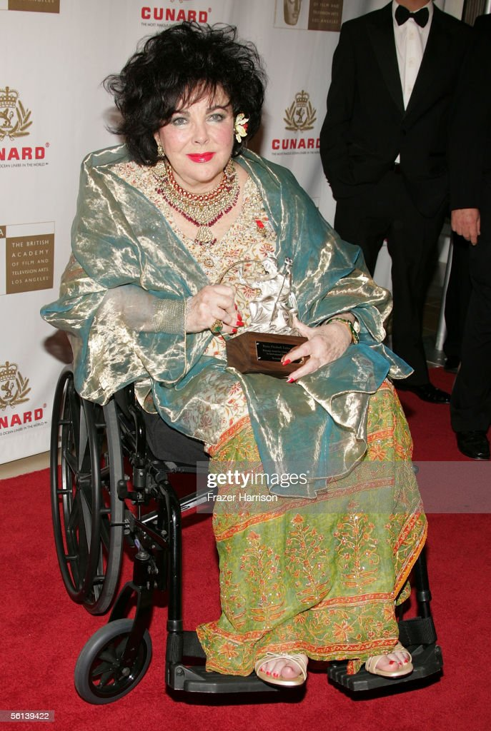 Actress <a gi-track='captionPersonalityLinkClicked' href=/galleries/search?phrase=Elizabeth+Taylor&family=editorial&specificpeople=69995 ng-click='$event.stopPropagation()'>Elizabeth Taylor</a> arrives at the 14th Annual Britannia Awards at the Beverly Hilton Hotel on November 10, 2005 in Beverly Hills, California. Taylor received the Britannia Award for Artistic Excellence in International Entertainment.