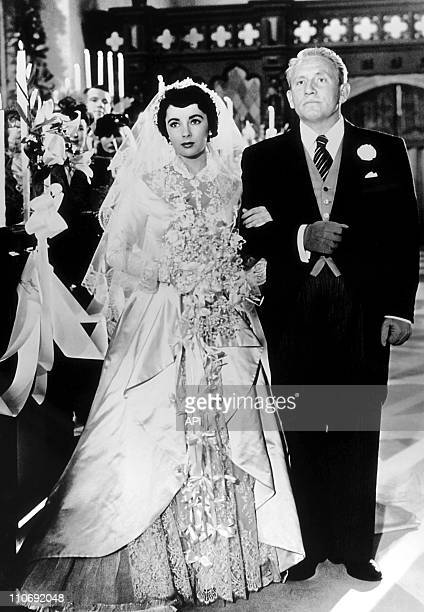 Actress Elizabeth Taylor with Spencer Tracy in a publicity still from the film 'Father of the Bride' during 1950 in the USA