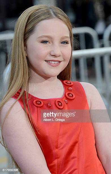 Actress Ella Anderson arrives for the Premiere Of USA Pictures' 'The Boss' at Regency Village Theatre on March 28 2016 in Westwood California