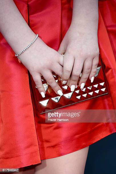 Actress Ella Anderson fashion detail attends the premiere of USA Pictures' 'The Boss' at Regency Village Theatre on March 28 2016 in Westwood...