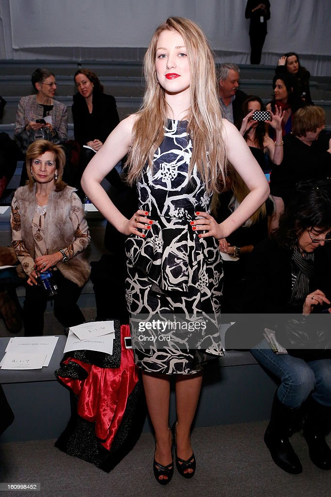 Actress Ella Rae Peck attends the Carmen Marc Valvo Fall 2013 fashion show during Mercedes-Benz Fashion Week at The Stage at Lincoln Center on February 8, 2013 in New York City.