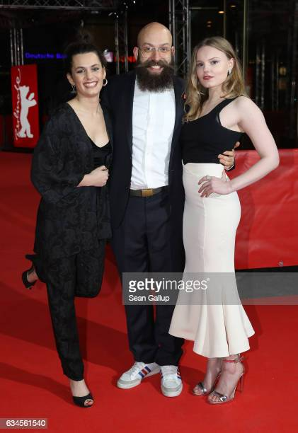 Actress Ella Rumpf director Jakob Lass and actress Maria Dragus attend the 'Tiger Girl' premiere during the 67th Berlinale International Film...