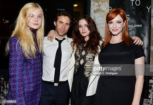 Actress Elle Fanning Actor Alessandro Nivola Actress Alice Englert and Actress Christina Hendricks attend the 'Ginger Rosa' post premiere reception...
