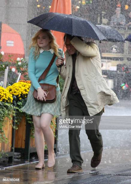 Actress Elle Fanning and Jude Law are seen on October 19 2017 on the set of Woody Allen's untitled film in New York City