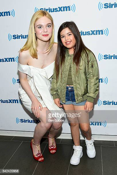 Actress Elle Fanning and singer Sophia Grace visit at SiriusXM Studios on June 23 2016 in New York City