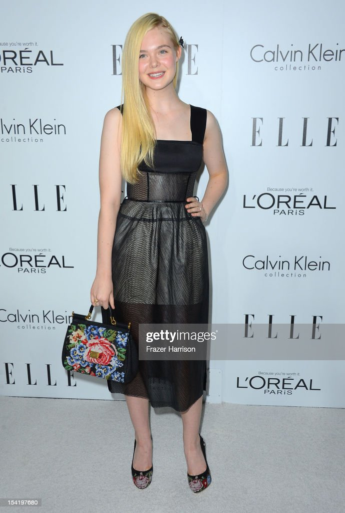 Actress <a gi-track='captionPersonalityLinkClicked' href=/galleries/search?phrase=Elle+Fanning&family=editorial&specificpeople=2189940 ng-click='$event.stopPropagation()'>Elle Fanning</a> arrives at ELLE's 19th Annual Women In Hollywood Celebration at the Four Seasons Hotel on October 15, 2012 in Beverly Hills, California.