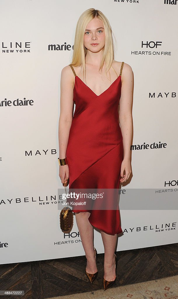 Actress <a gi-track='captionPersonalityLinkClicked' href=/galleries/search?phrase=Elle+Fanning&family=editorial&specificpeople=2189940 ng-click='$event.stopPropagation()'>Elle Fanning</a> arrives at Marie Claire's Fresh Faces Party at Soho House on April 8, 2014 in West Hollywood, California.