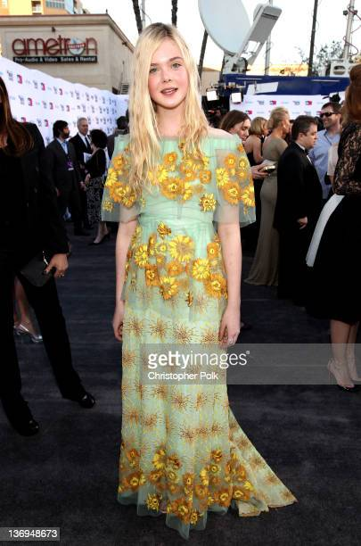 Actress Elle Fanning arrives at the 17th Annual Critics' Choice Movie Awards held at The Hollywood Palladium on January 12 2012 in Los Angeles...