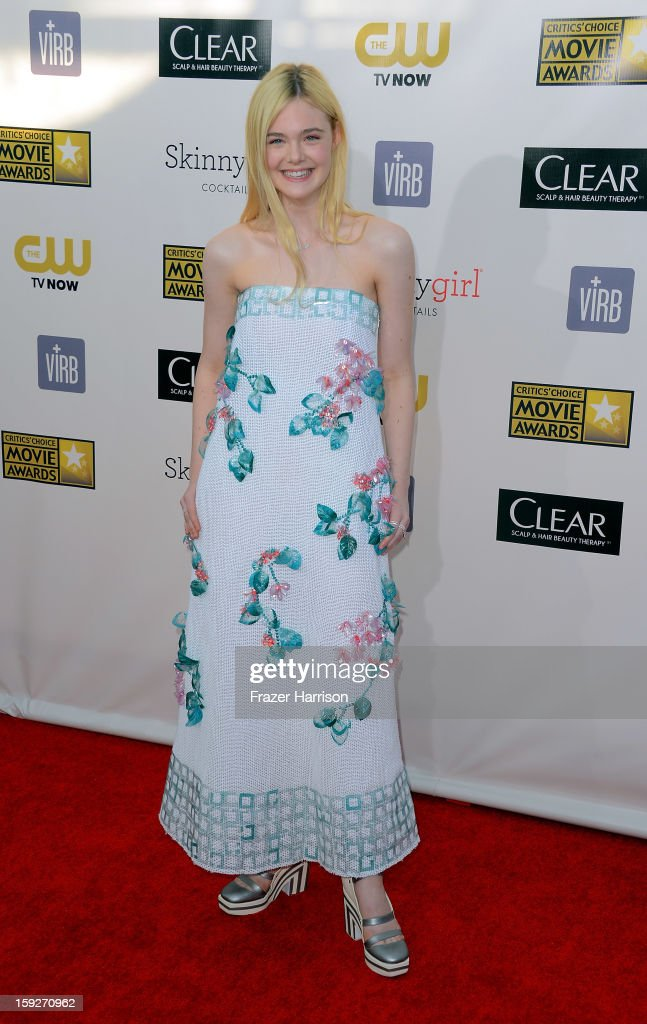 Actress Elle Fanning arrives at the 18th Annual Critics' Choice Movie Awards at Barker Hangar on January 10, 2013 in Santa Monica, California.