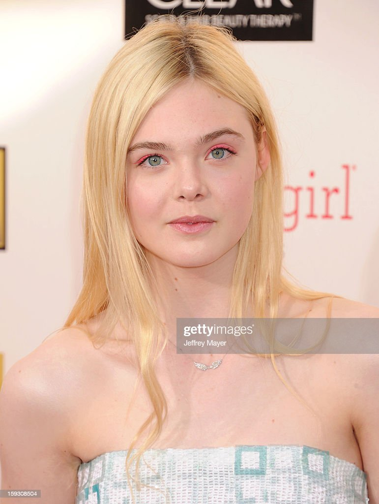 Actress <a gi-track='captionPersonalityLinkClicked' href=/galleries/search?phrase=Elle+Fanning&family=editorial&specificpeople=2189940 ng-click='$event.stopPropagation()'>Elle Fanning</a> arrives at the 18th Annual Critics' Choice Movie Awards at The Barker Hangar on January 10, 2013 in Santa Monica, California.