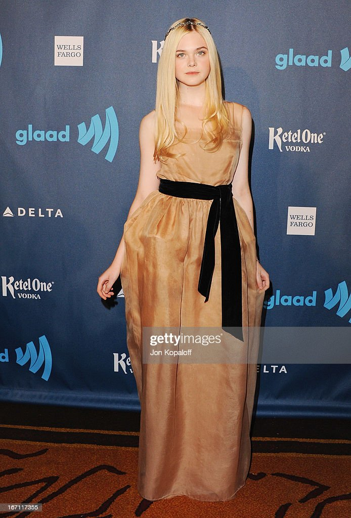 Actress Elle Fanning arrives at the 24th Annual GLAAD Media Awards at JW Marriott Los Angeles at L.A. LIVE on April 20, 2013 in Los Angeles, California.