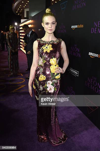 Actress Elle Fanning arrives at the premiere of Amazon's 'The Neon Demon' at the Arclight Theatre on June 14 2016 in Los Angeles California