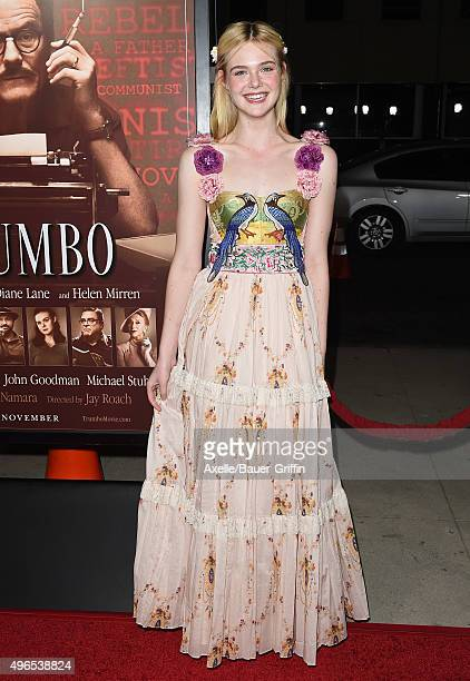 Actress Elle Fanning arrives at the premiere of Bleecker Street Media's 'Trumbo' at Samuel Goldwyn Theater on October 27 2015 in Beverly Hills...
