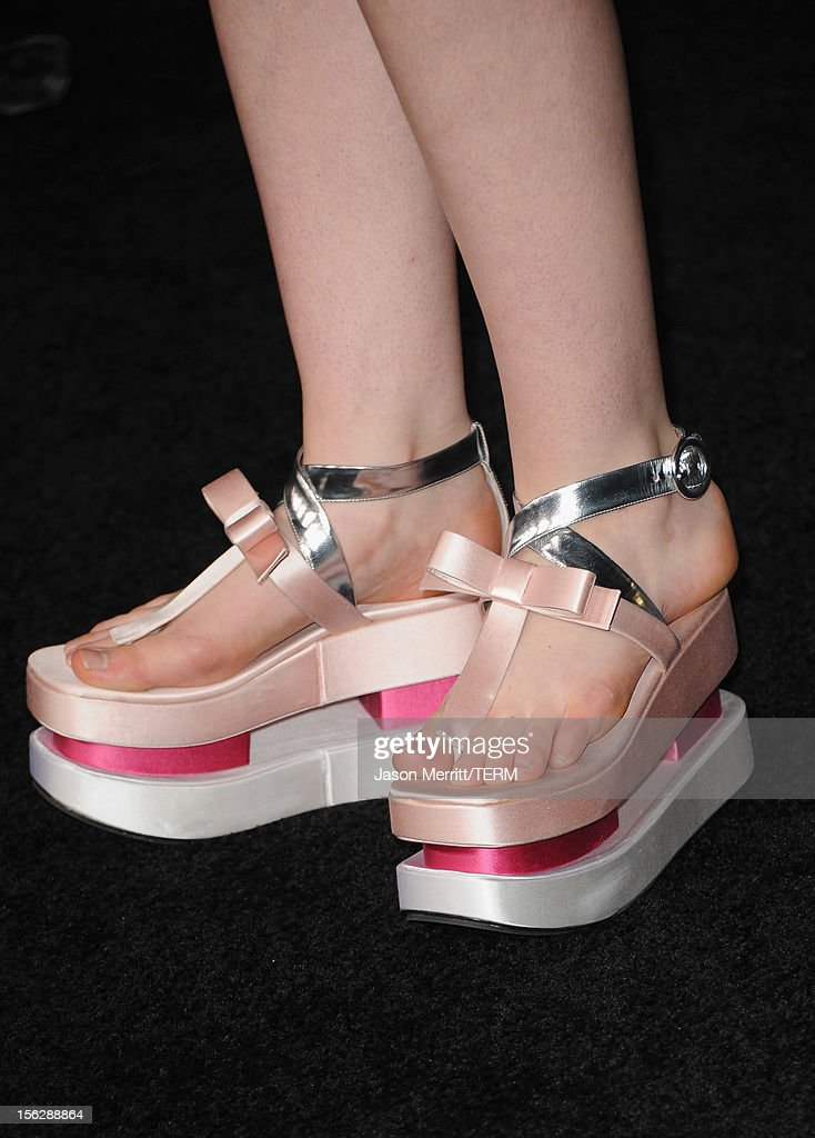 Actress Elle Fanning (shoe detail) arrives at the premiere of Summit Entertainment's 'The Twilight Saga: Breaking Dawn - Part 2' at Nokia Theatre L.A. Live on November 12, 2012 in Los Angeles, California.
