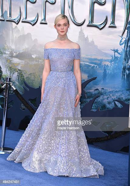 Actress Elle Fanning arrives at the World Premiere Of Disney's 'Maleficent' at the El Capitan Theatre on May 28 2014 in Hollywood California