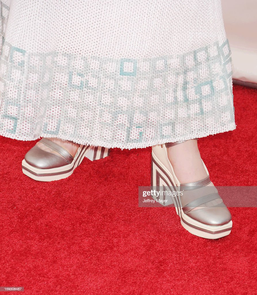 Actress Elle Fanning (shoe detail) at the 18th Annual Critics' Choice Movie Awards at The Barker Hangar on January 10, 2013 in Santa Monica, California.