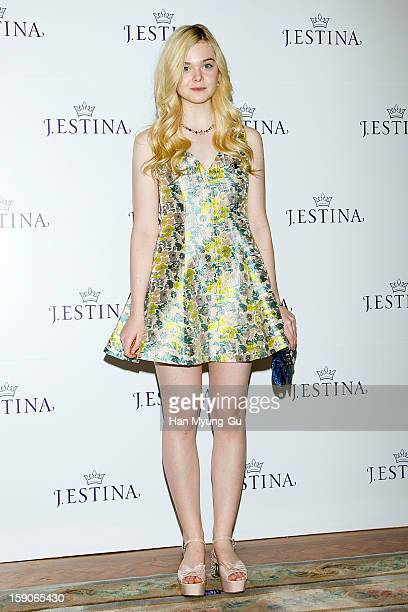 Actress Elle Fanning attends a promotional event for the 2013 JESTINA SS presentation at Shilla Hotel on January 7 2013 in Seoul South Korea