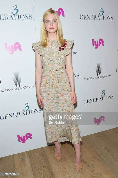 Actress Elle Fanning attends a special screening of '3 Generations' hosted by The Weinstein Company at the Whitby Hotel on April 30 2017 in New York...