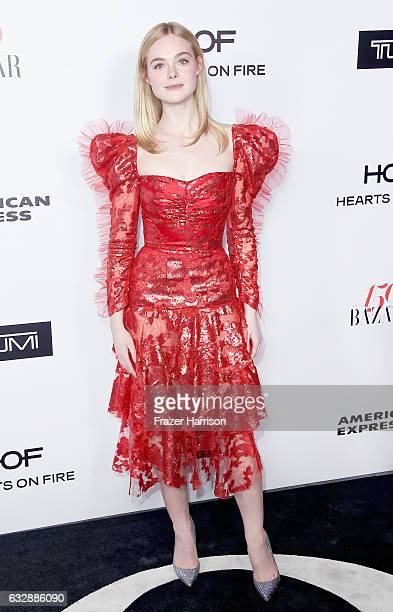 Actress Elle Fanning attends Harper's Bazaar Celebrates 150 Most Fashionable Women at Sunset Tower Hotel on January 27 2017 in West Hollywood...