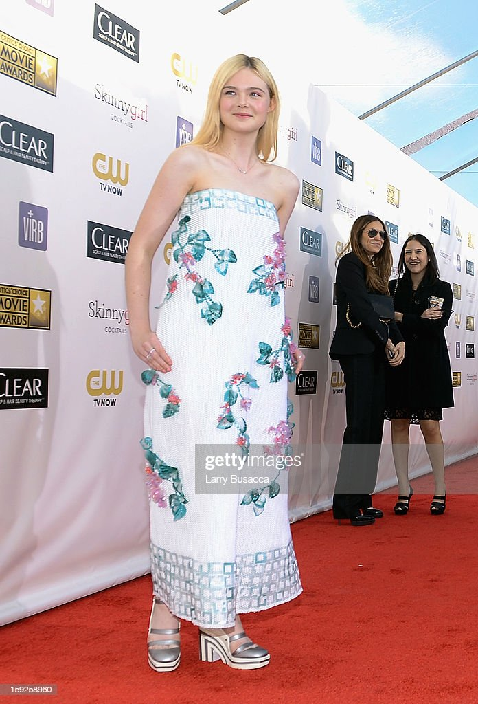 Actress Elle Fanning attends the 18th Annual Critics' Choice Movie Awards held at Barker Hangar on January 10, 2013 in Santa Monica, California.