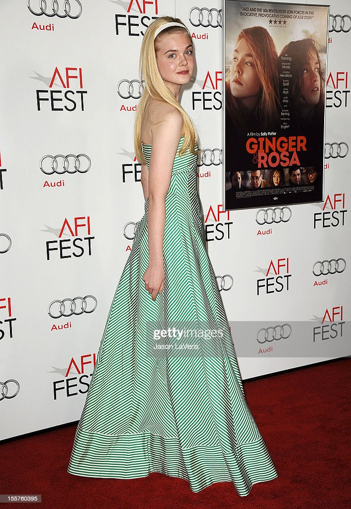 Actress <a gi-track='captionPersonalityLinkClicked' href=/galleries/search?phrase=Elle+Fanning&family=editorial&specificpeople=2189940 ng-click='$event.stopPropagation()'>Elle Fanning</a> attends the 2012 AFI Fest premiere of 'Ginger & Rosa' at Grauman's Chinese Theatre on November 7, 2012 in Hollywood, California.