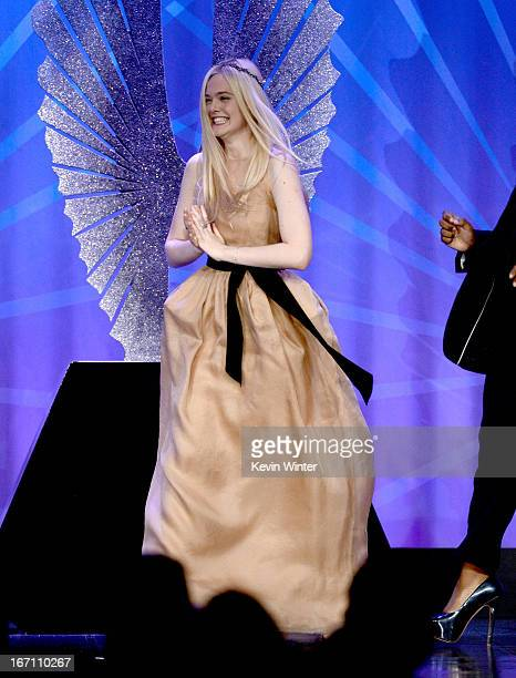 Actress Elle Fanning attends the 24th Annual GLAAD Media Awards at JW Marriott Los Angeles at LA LIVE on April 20 2013 in Los Angeles California