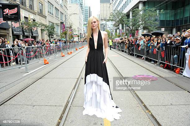 Actress Elle Fanning attends the 'About Ray' premiere during the 2015 Toronto International Film Festival at the Princess of Wales Theatre on...