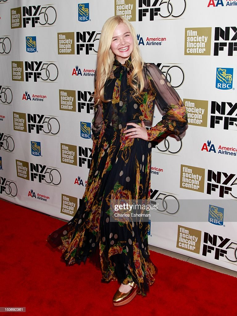 Actress <a gi-track='captionPersonalityLinkClicked' href=/galleries/search?phrase=Elle+Fanning&family=editorial&specificpeople=2189940 ng-click='$event.stopPropagation()'>Elle Fanning</a> attends the 'Ginger And Rosa' premiere during the 50th New York Film Festival at Alice Tully Hall at Lincoln Center on October 8, 2012 in New York City.