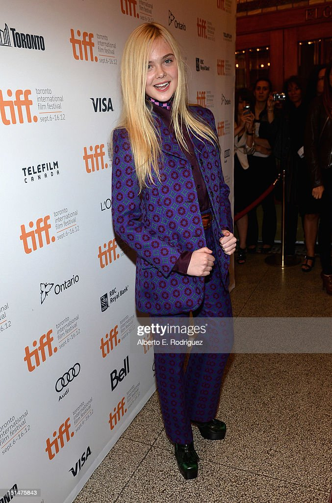 Actress <a gi-track='captionPersonalityLinkClicked' href=/galleries/search?phrase=Elle+Fanning&family=editorial&specificpeople=2189940 ng-click='$event.stopPropagation()'>Elle Fanning</a> attends the 'Ginger & Rosa' premiere during the 2012 Toronto International Film Festival at the The Elgin on September 7, 2012 in Toronto, Canada.