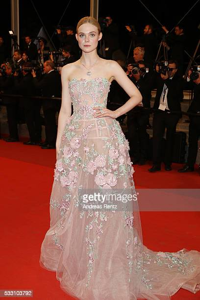 Actress Elle Fanning attends the 'Neon Demon' premiere during the 69th annual Cannes Film Festival at the Palais des Festivals on May 20 2016 in...