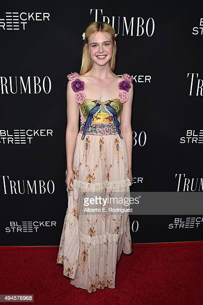 Actress Elle Fanning attends the premiere of Bleecker Street Media's 'Trumbo' at AMPAS Samuel Goldwyn Theater on October 27 2015 in Beverly Hills...
