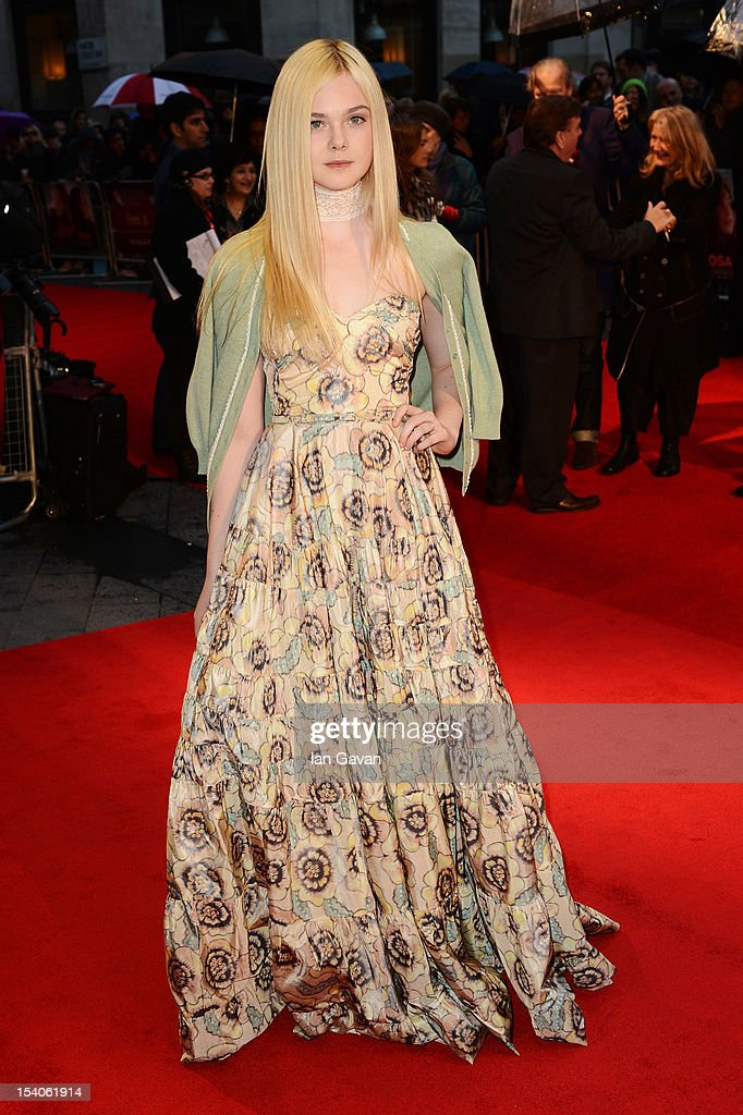 Actress <a gi-track='captionPersonalityLinkClicked' href=/galleries/search?phrase=Elle+Fanning&family=editorial&specificpeople=2189940 ng-click='$event.stopPropagation()'>Elle Fanning</a> attends the premiere of 'Ginger and Rosa' during the 56th BFI London Film Festival at Odeon West End on October 13, 2012 in London, England.