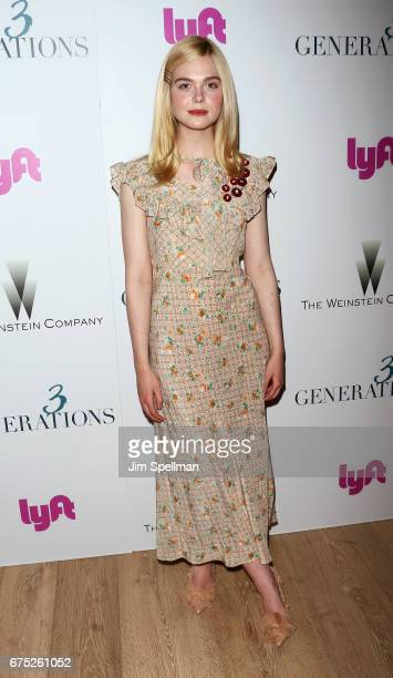 Actress Elle Fanning attends the screening of '3 Generations' hosted by The Weinstein Company at the Whitby Hotel on April 30 2017 in New York City