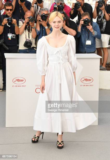 Actress Elle Fanning attends the 'The Beguiled' photocall during the 70th annual Cannes Film Festival at Palais des Festivals on May 24 2017 in...