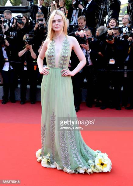 Actress Elle Fanning departs after the 'How To Talk To Girls At Parties' screening during the 70th annual Cannes Film Festival at Palais des...