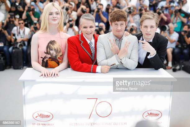 Actress Elle Fanning director John Cameron Mitchell Actors Alex Sharp and AJ Lewis attend the 'How To Talk To Girls At Parties' photocall during the...