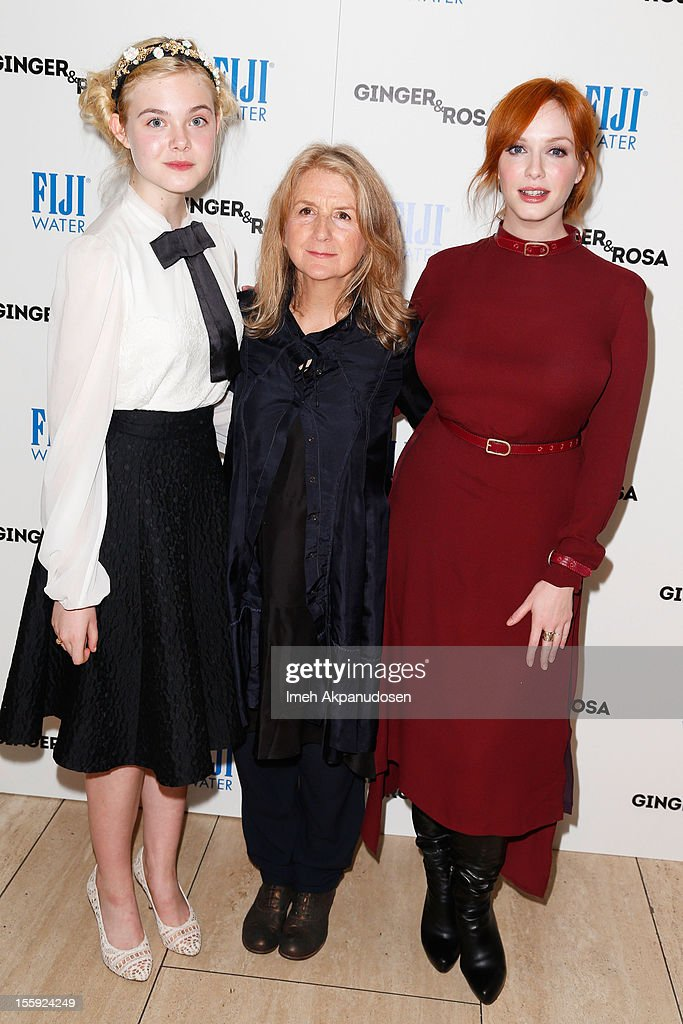 Actress <a gi-track='captionPersonalityLinkClicked' href=/galleries/search?phrase=Elle+Fanning&family=editorial&specificpeople=2189940 ng-click='$event.stopPropagation()'>Elle Fanning</a>, director <a gi-track='captionPersonalityLinkClicked' href=/galleries/search?phrase=Sally+Potter&family=editorial&specificpeople=212743 ng-click='$event.stopPropagation()'>Sally Potter</a>, and actress <a gi-track='captionPersonalityLinkClicked' href=/galleries/search?phrase=Christina+Hendricks&family=editorial&specificpeople=2239736 ng-click='$event.stopPropagation()'>Christina Hendricks</a> attend the screening of A24 Films' 'Ginger & Rosa' at The Paley Center for Media on November 8, 2012 in Beverly Hills, California.