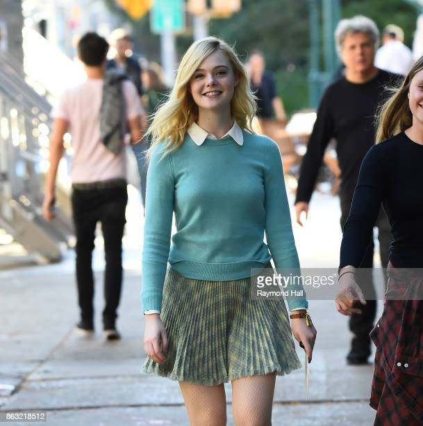 Actress Elle Fanning is seen on location for Woody Allen's untitled movie on October 19 2017 in New York City