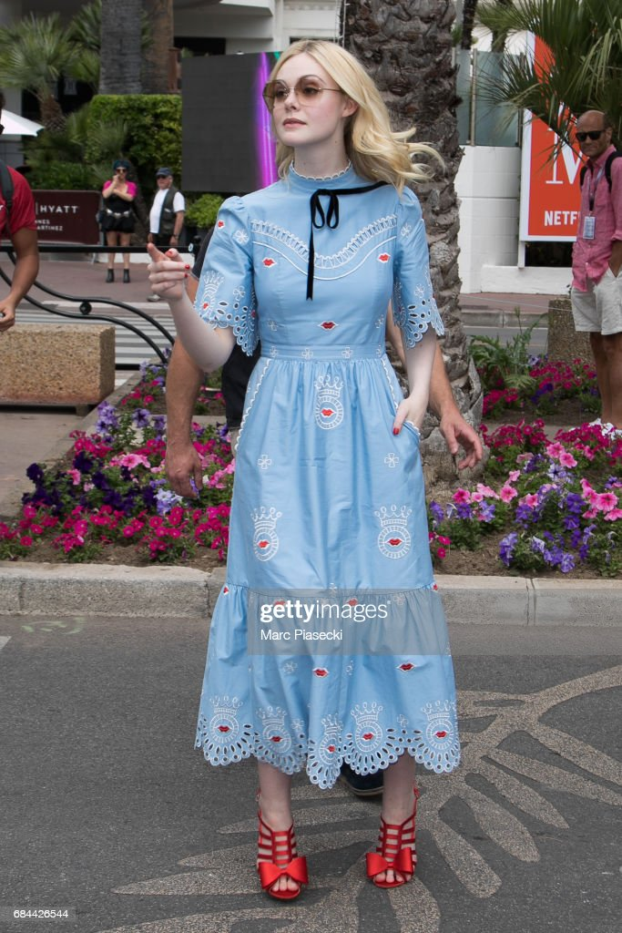 Actress Elle Fanning is spotted during the 70th annual Cannes Film Festival on May 18, 2017 in Cannes, France.