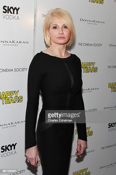 Actress Ellen Barkin attends a screening of 'Happy Tears' hosted by the Cinema Society and Donna Karan at The Museum of Modern Art on February 16...