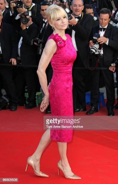 Actress Ellen Barkin attends the Premiere of 'Wall Street Money Never Sleeps' held at the Palais des Festivals during the 63rd Annual International...