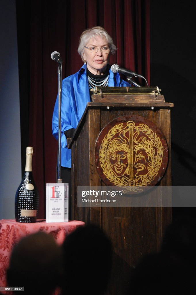 Actress <a gi-track='captionPersonalityLinkClicked' href=/galleries/search?phrase=Ellen+Burstyn&family=editorial&specificpeople=216383 ng-click='$event.stopPropagation()'>Ellen Burstyn</a> addresses the audience during the 2013 First Time Fest closing night awards at The Players Club on March 4, 2013 in New York City.