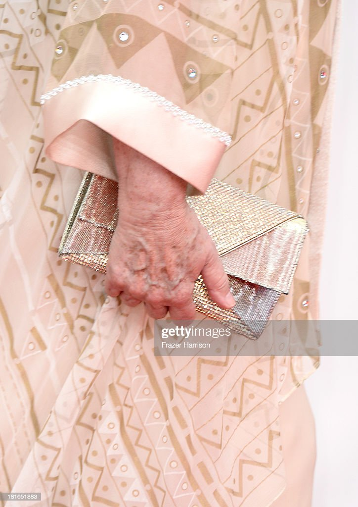 Actress Ellen Burstyn (handbag and fashion detail) arrives at the 65th Annual Primetime Emmy Awards held at Nokia Theatre L.A. Live on September 22, 2013 in Los Angeles, California.