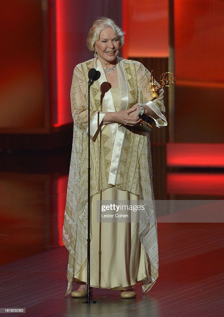 Actress <a gi-track='captionPersonalityLinkClicked' href=/galleries/search?phrase=Ellen+Burstyn&family=editorial&specificpeople=216383 ng-click='$event.stopPropagation()'>Ellen Burstyn</a> speaks onstage during the 65th Annual Primetime Emmy Awards held at Nokia Theatre L.A. Live on September 22, 2013 in Los Angeles, California.