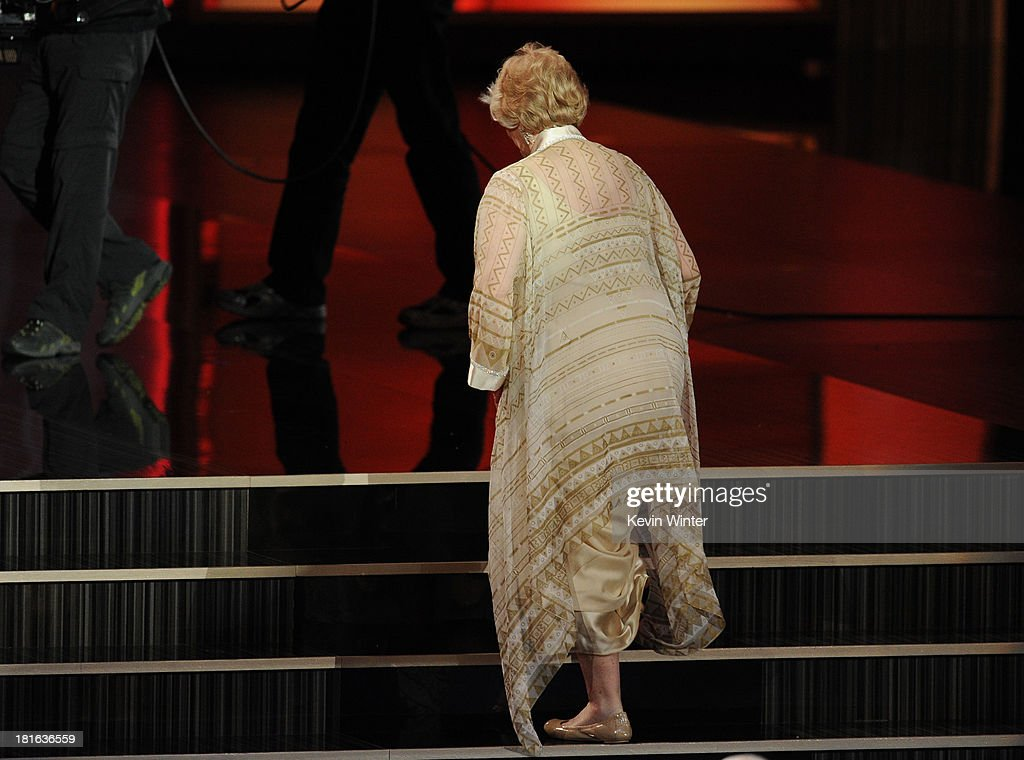 Actress Ellen Burstyn, winner of Outstanding Supporting Actress in a Miniseries or Movie for 'Political Animals,' walks onstage during the 65th Annual Primetime Emmy Awards held at Nokia Theatre L.A. Live on September 22, 2013 in Los Angeles, California.