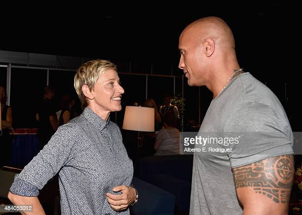 Actress Ellen DeGeneres of FINDING DORY and actor Dwayne Johnson of MOANA took part today in 'Pixar and Walt Disney Animation Studios The Upcoming...