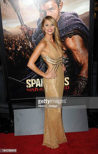 Actress Ellen Hollman arrives for The Los Angeles Premiere of Showtime's 'Spartacus War Of The Damned' held at Regal Cinemas LA Live Stadium 14 on...
