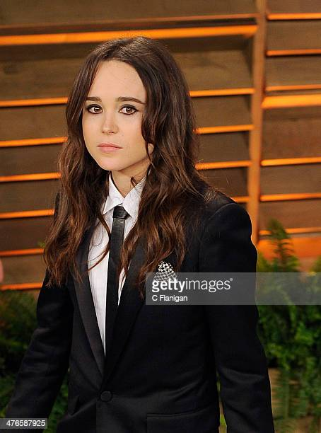 Actress Ellen Page arrives at the 2014 Vanity Fair Oscar Party Hosted By Graydon Carter on March 2 2014 in West Hollywood California